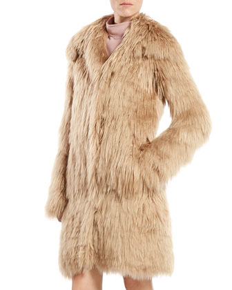 Single Breasted Alpaca Fur Jacket & Asymmetric Sleeveless Dress