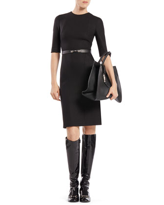 Belted Short-Sleeve Wool Dress