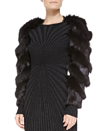 Long-Sleeve Fur Bolero & Long-Sleeve Open-Back Metallic Knit Gown