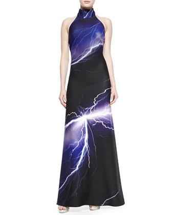 Halter Lightning-Print Scuba Gown