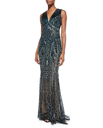 Honeycomb Beaded Sheer Side Gown, Black/Cobalt