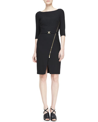 Wide-Lapel Metal-Close Coat and Asymmetric-Zip Belted Dress