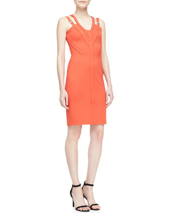 Double-Shoulder V-Neck Sheath Dress, Gerbera