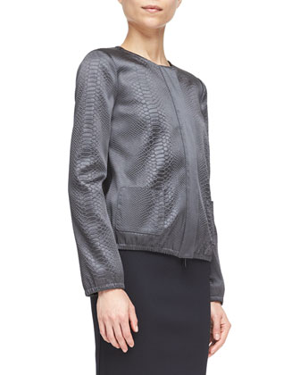 Snake-Embossed Zip-Front Shirt Jacket