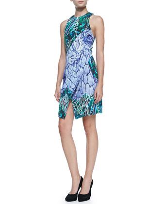 Sleeveless Printed Silk Mini Dress
