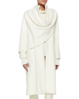 Marielle Drape-Panel Coat, Long-Sleeve Turtleneck & Bradford Slim Wool Pants