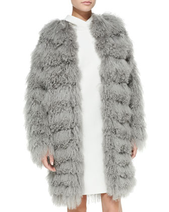 Veronica Tiered Shearling Fur Coat & Charisses Hooded Tunic Dress