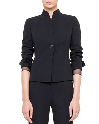One-Button Jacket with Mandarin Collar