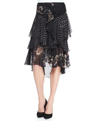 Combo-Print Silk Chiffon Midi Skirt