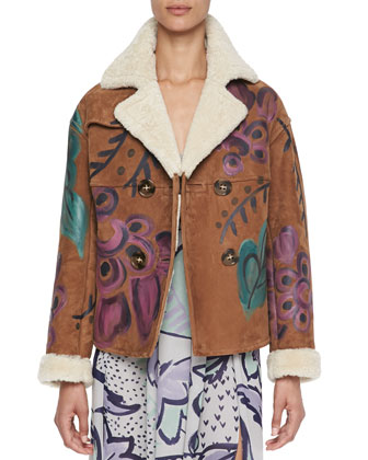 Hand-Painted Shearling & Suede Jacket