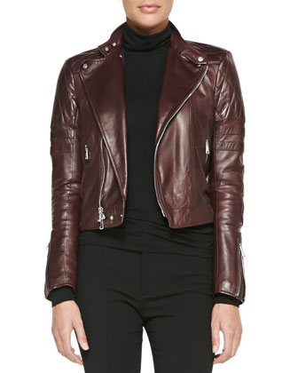 Circuit Leather Biker Jacket, Cailee Long-Sleeve Turtleneck & Farrah ...