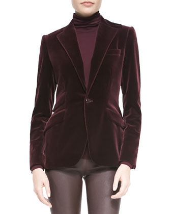 Sylvia Velvet Blazer, Cailee Turtleneck Top & Abbey Stretch Leather Pants