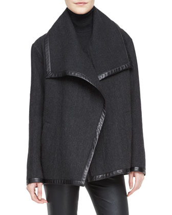 Talisa Boxy Wool Jacket, Long-Sleeve Turtleneck & Abbey Stretch Leather ...