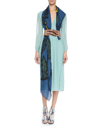 Smocked Silk Dress, Hand-Painted Floral Wide Belt & Floral Cashmere Scarf