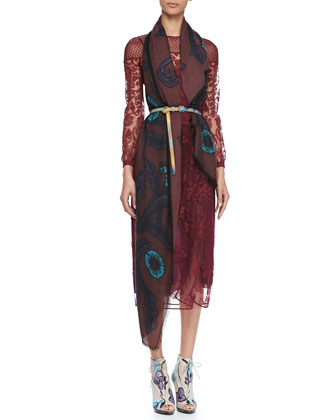 Floral-Embroidered Tulle Dress & Vine Cashmere Scarf