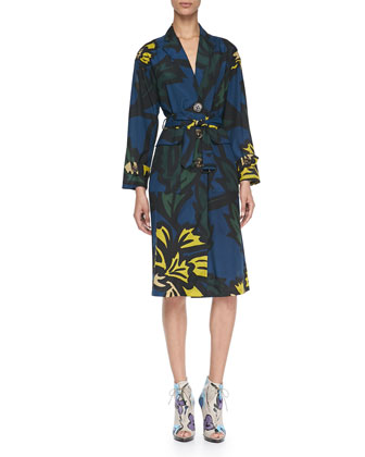 Floral-Print Lightweight Silk Caban Coat