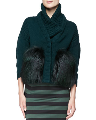 Wool-Cashmere Chunky Fur-Front Jacket