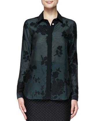 Wide Placket Floral Shirt