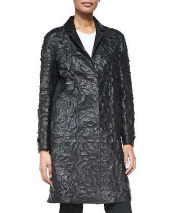 Leather Lasercut Leaf Coat, Black