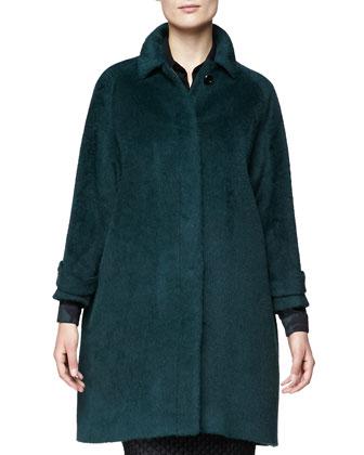 Alpaca-Blend Drop-Sleeve Coat, Wide Placket Floral Shirt & Fil Coupe Pencil ...