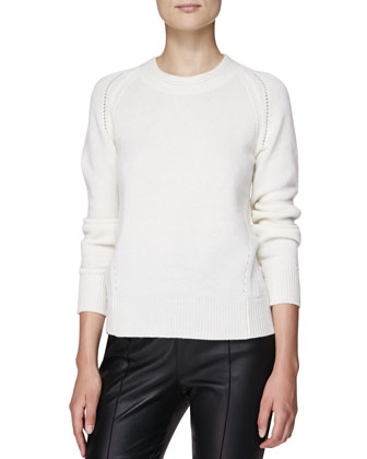 Cashmere Crewneck Sweater, Natural White