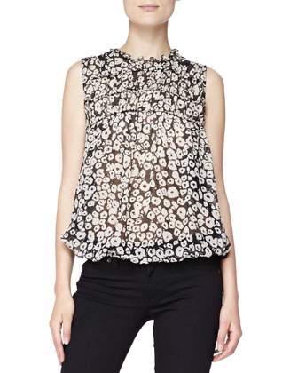 Floral Mixed-Fabric Blouse, Black/White