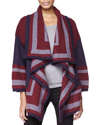Short Blanket Sweater, Military Navy/Burgundy