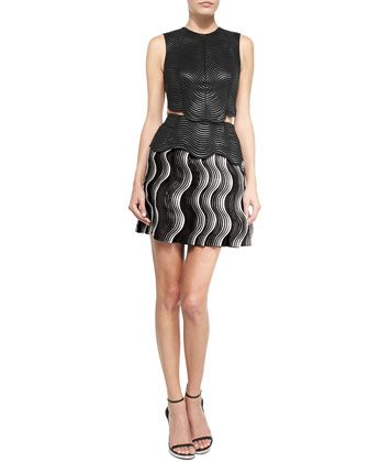 Wave-Jacquard Woven Dress with Side Cutout, Black/Gray