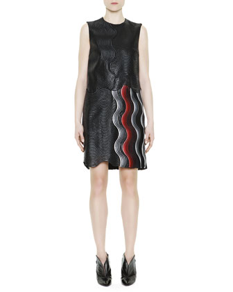 Wave-Jacquard Dress, Black/Gray/Red