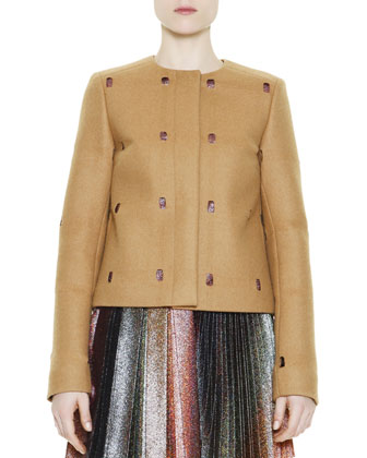 Perforated Metallic-Peekaboo Coat, Camel