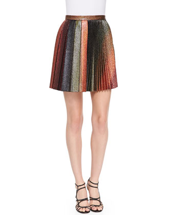 Short Metallic Pleated Skirt, Copper/Multi