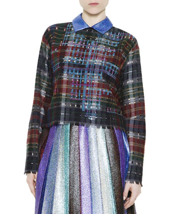 Collared Plaid Sweater & Metallic Pleated Skirt