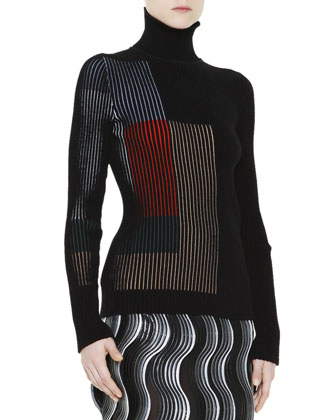Long-Sleeve Rib-Knit Optical Sweater, Black/Multi