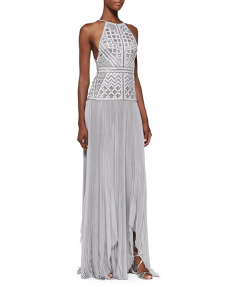Beaded Drop-Waist Halter Gown, Gris Gray