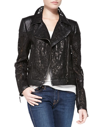 Lace & Leather Moto Jacket, Noir Black