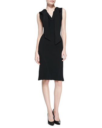 Sleeveless Sheath Dress w/ Attached Scarf