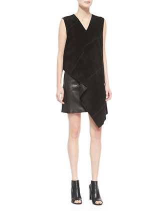 Folded Suede Dress, Black