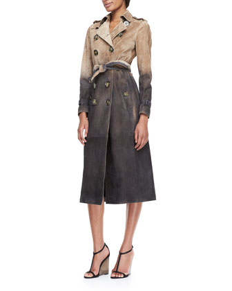 Degrade-Printed Suede Trench Coat, Stone