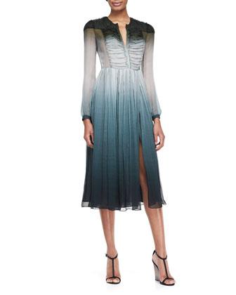 Degrade Printed Crepon Dress