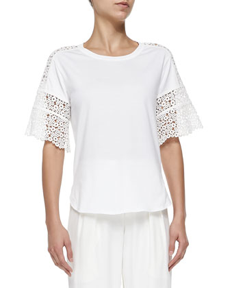 Short-Sleeve Ring-Lace Tee, White