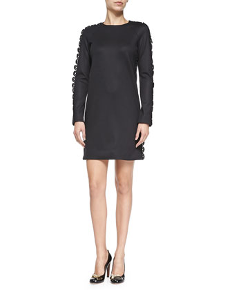Long-Sleeve Lace-Trim Knit Dress, Black