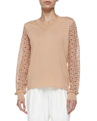 V-Neck Lace-Sleeve Top, Terracotta