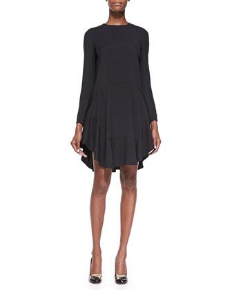 Long-Sleeve Drop-Waist Peplum Dress, Black