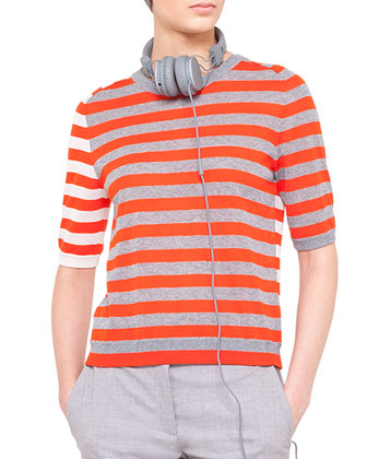 Striped Sweater, Silver/Tangerine