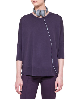 3/4-Sleeve Boat-Neck Sweater, Royal Purple