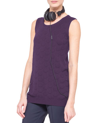 Long Punto Jacquard Tank, Purple