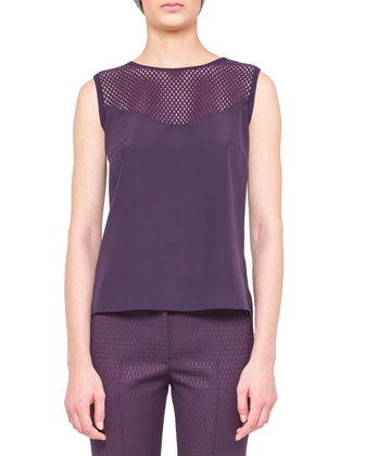 Silk Tank with Embroidered Inset, Purple