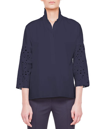 Eyelet-Sleeve Button-Down Blouse