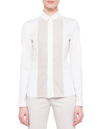 One-Button Half-Lined Jacket & Long-Sleeve Embroidered-Front Blouse