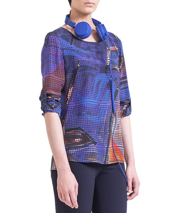 Tab-Sleeve Graffiti-Print Blouse & Skinny Techno-Stretch Jeans
